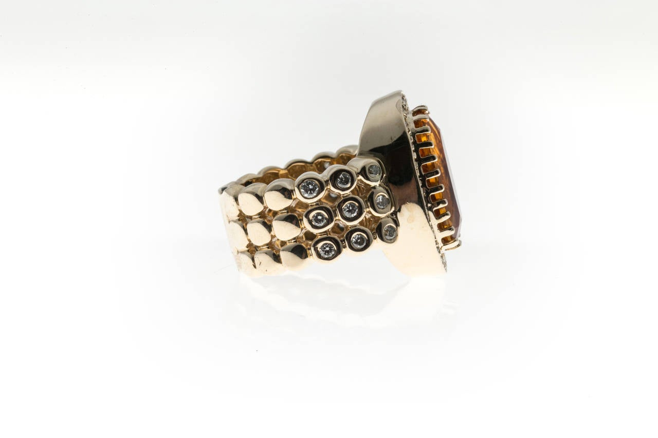 Sonia B Citrine Diamond Gold Ring 7