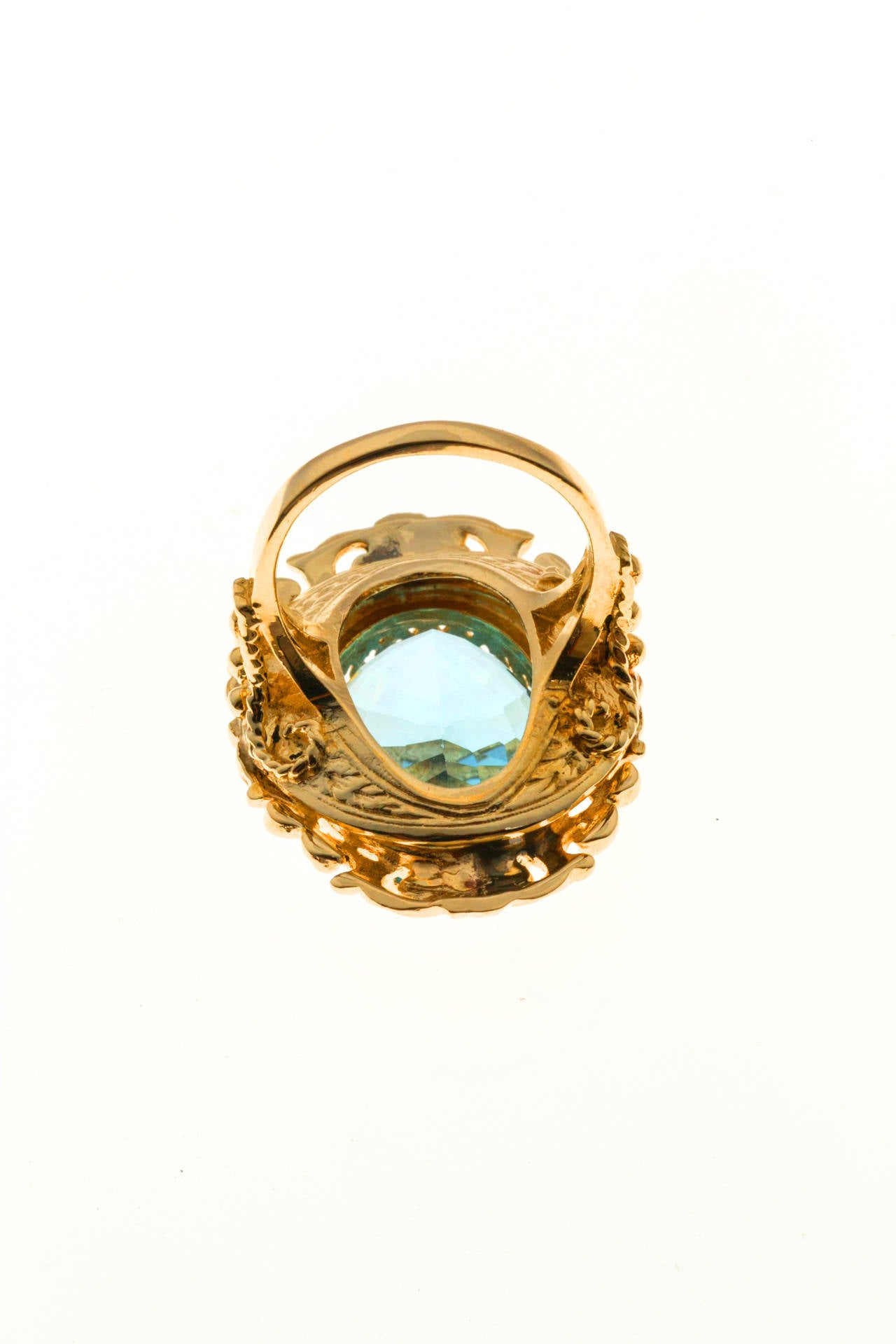 oval bright blue topaz gold ring for sale at 1stdibs