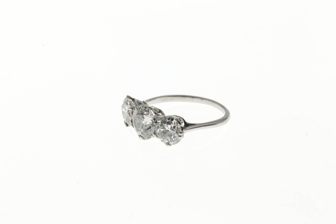 Old European Cut Classic Three Stone Diamond Platinum Engagement Ring For Sale