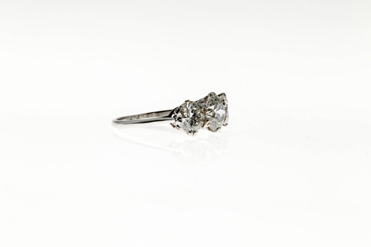 Women's Classic Three Stone Diamond Platinum Engagement Ring For Sale