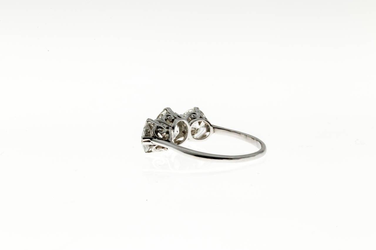Classic Three Stone Diamond Platinum Engagement Ring For Sale 1