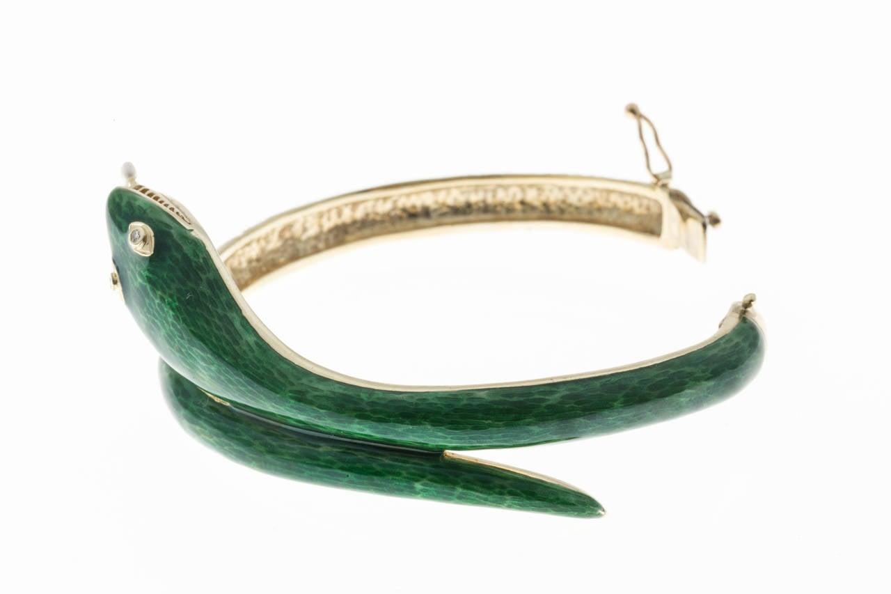Round Cut Pearl Diamond Enamel Gold Snake Bangle Bracelet