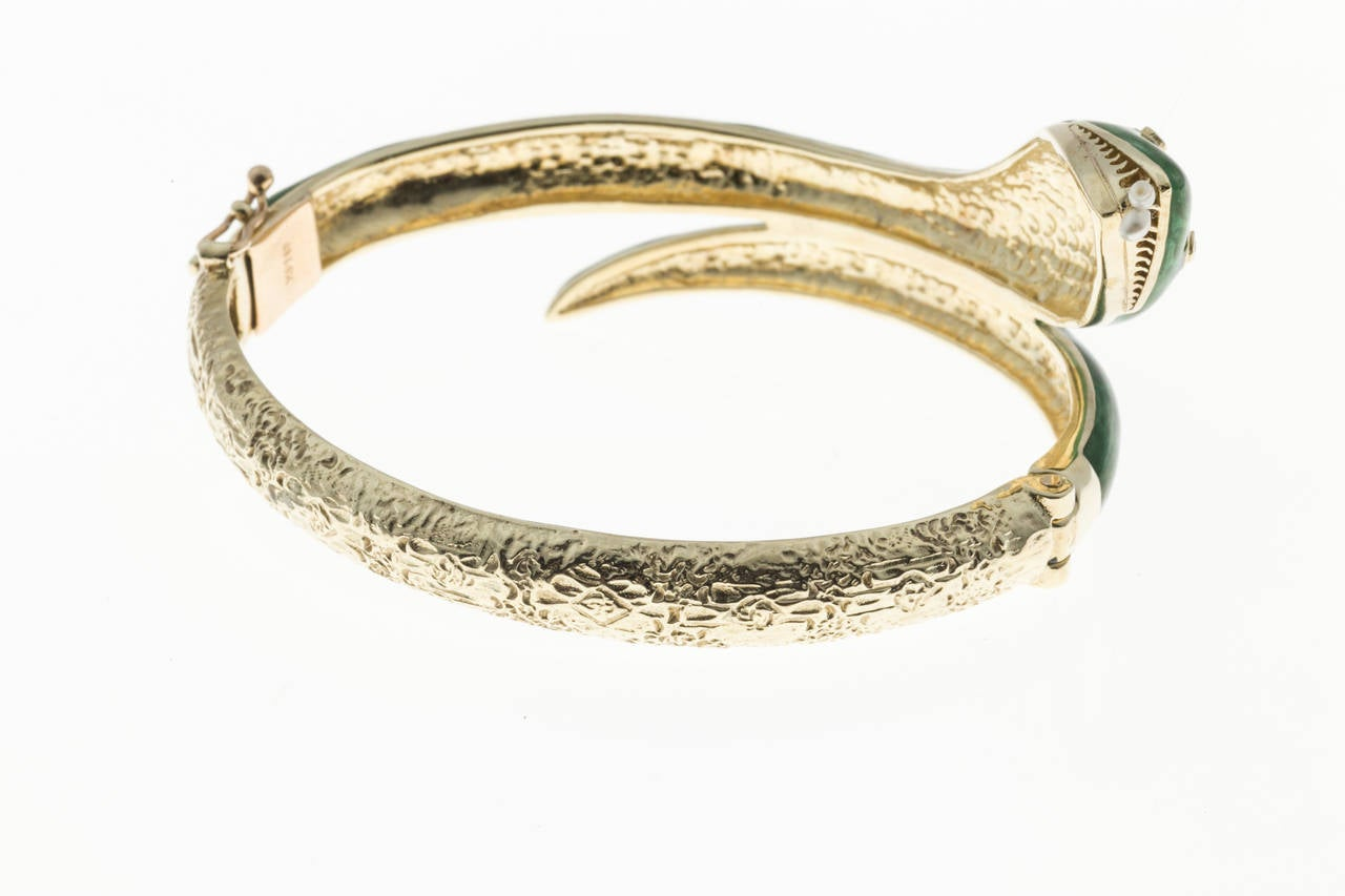Pearl Diamond Enamel Gold Snake Bangle Bracelet In Good Condition In Stamford, CT