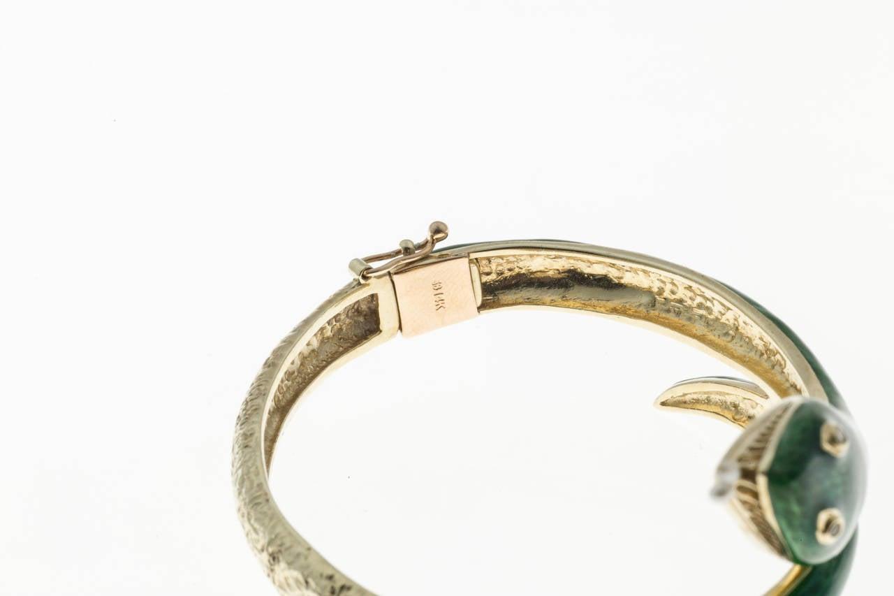 Women's Pearl Diamond Enamel Gold Snake Bangle Bracelet