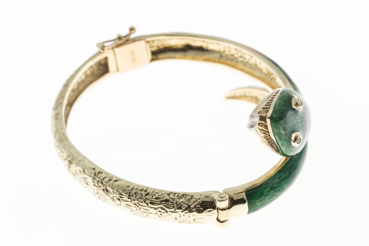 Pearl Diamond Enamel Gold Snake Bangle Bracelet 1