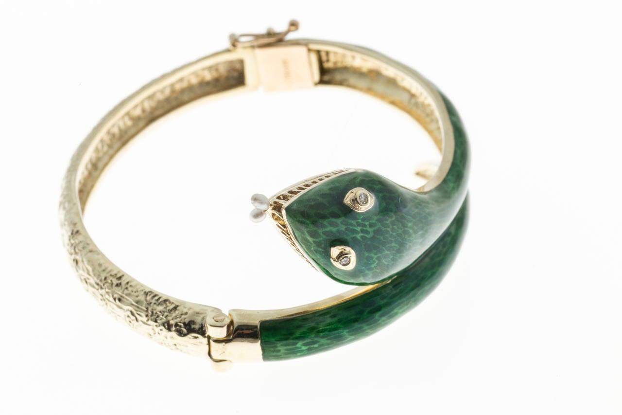 Pearl Diamond Enamel Gold Snake Bangle Bracelet 2