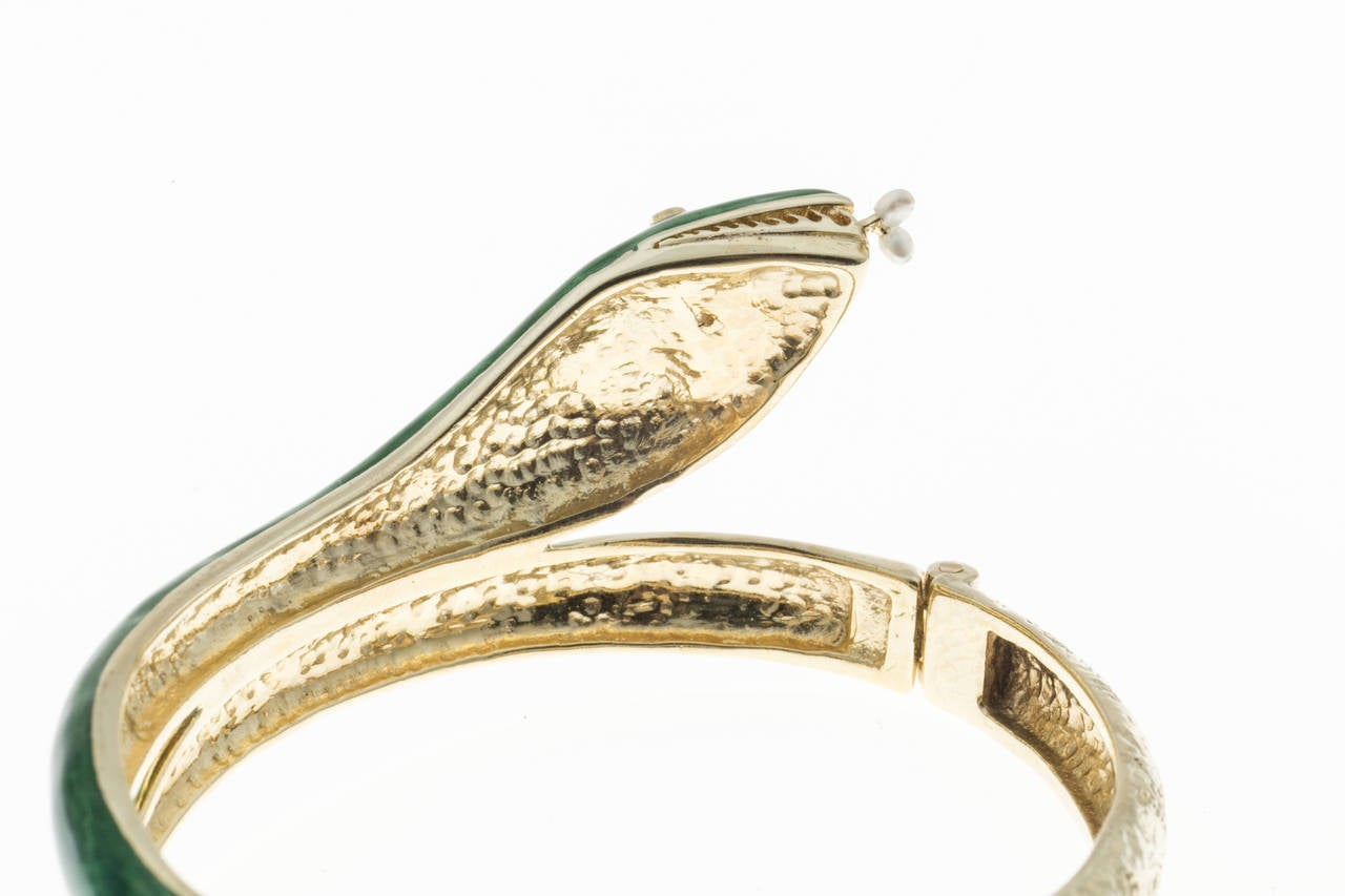 Pearl Diamond Enamel Gold Snake Bangle Bracelet 3