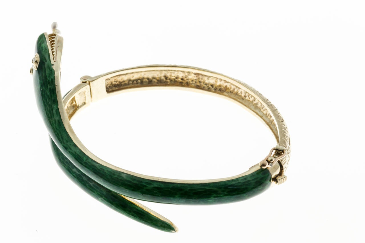 Pearl Diamond Enamel Gold Snake Bangle Bracelet 4