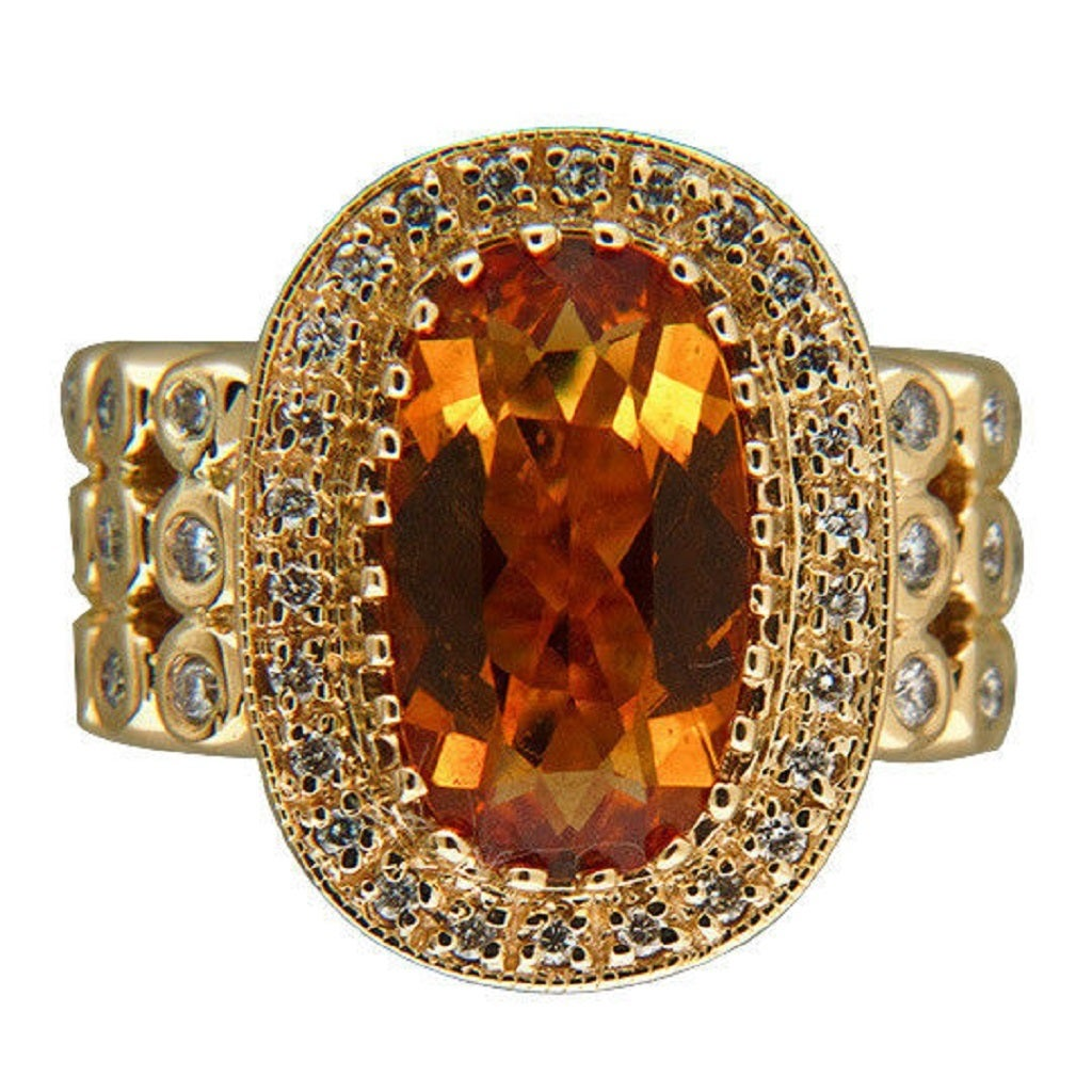 Sonia B Citrine Diamond Gold Ring 3