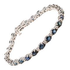 Blue Sapphire Diamond Gold Hinged Link Bracelet