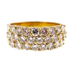 Three Row Diamond Gold Wedding Band Ring