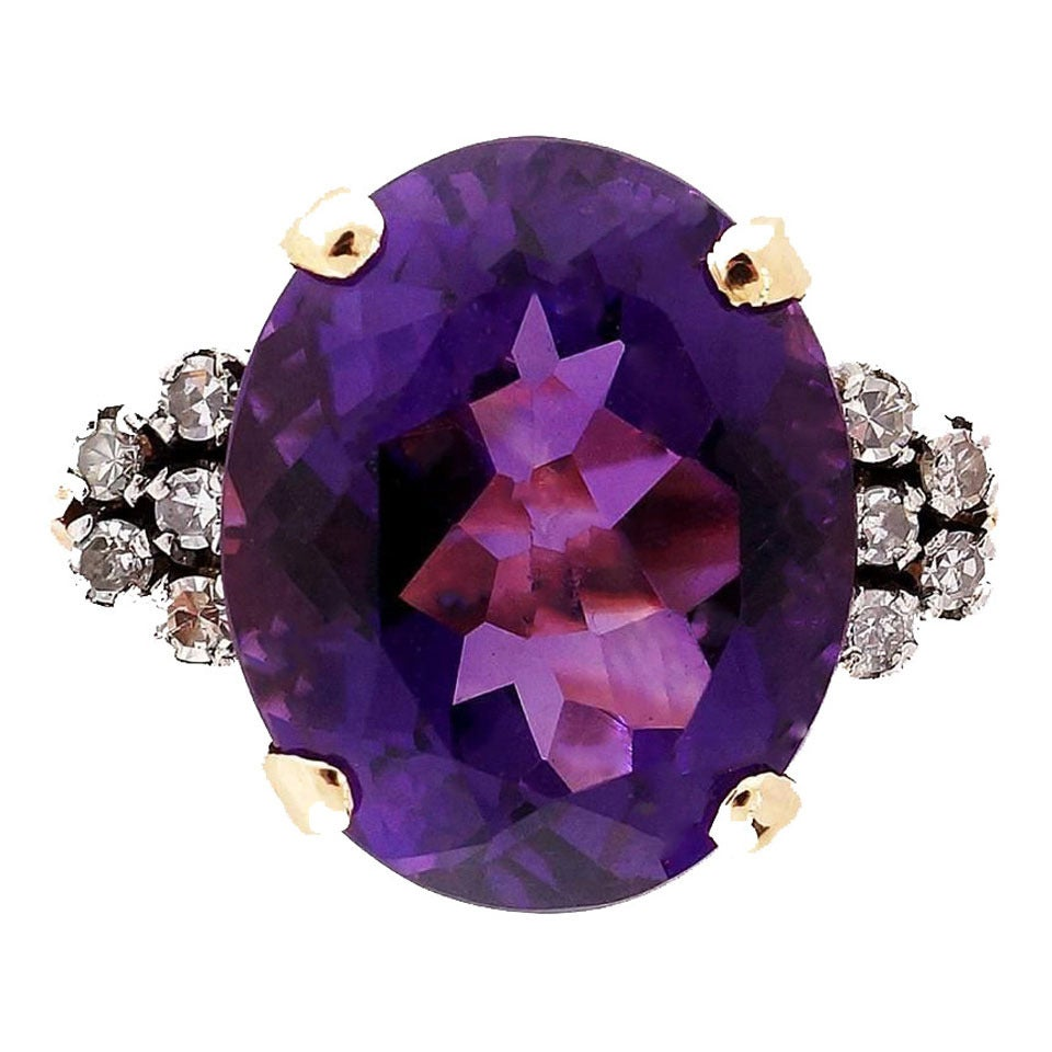 Amethyst DIamond Gold Ring 1