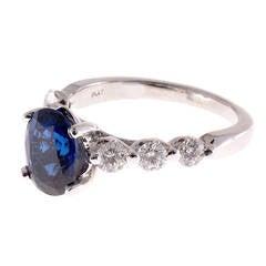 Cornflower Blue Natural Oval Sapphire Diamond Platinum Ring