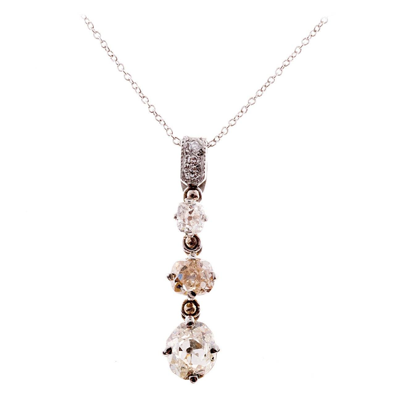 Victorian Three Diamond Platinum Pendant