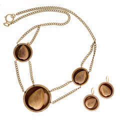 Victorian Gold Almond Necklace Earring Set