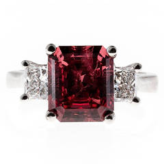 Orange Pink Garnet Diamond Platinum Ring