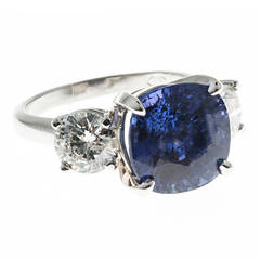 Peter Suchy Natural Blue Sapphire Diamond Platinum Ring