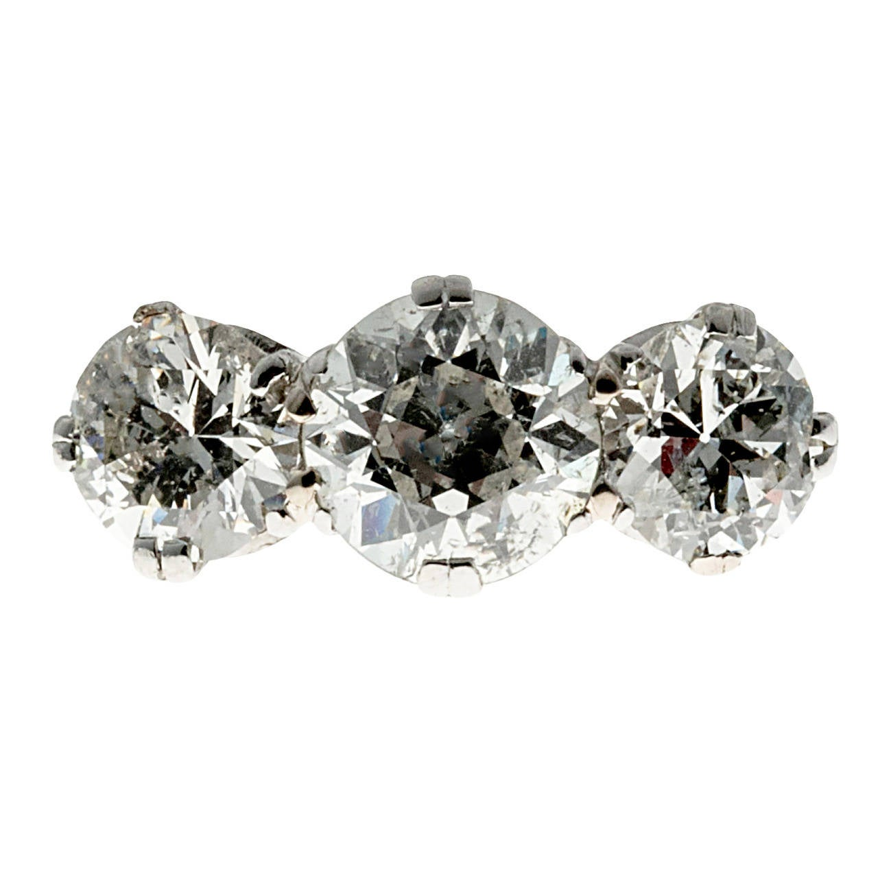 Classic Three Stone Diamond Platinum Engagement Ring For Sale