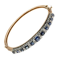 Natural Sapphire Diamond Gold Bangle Bracelet