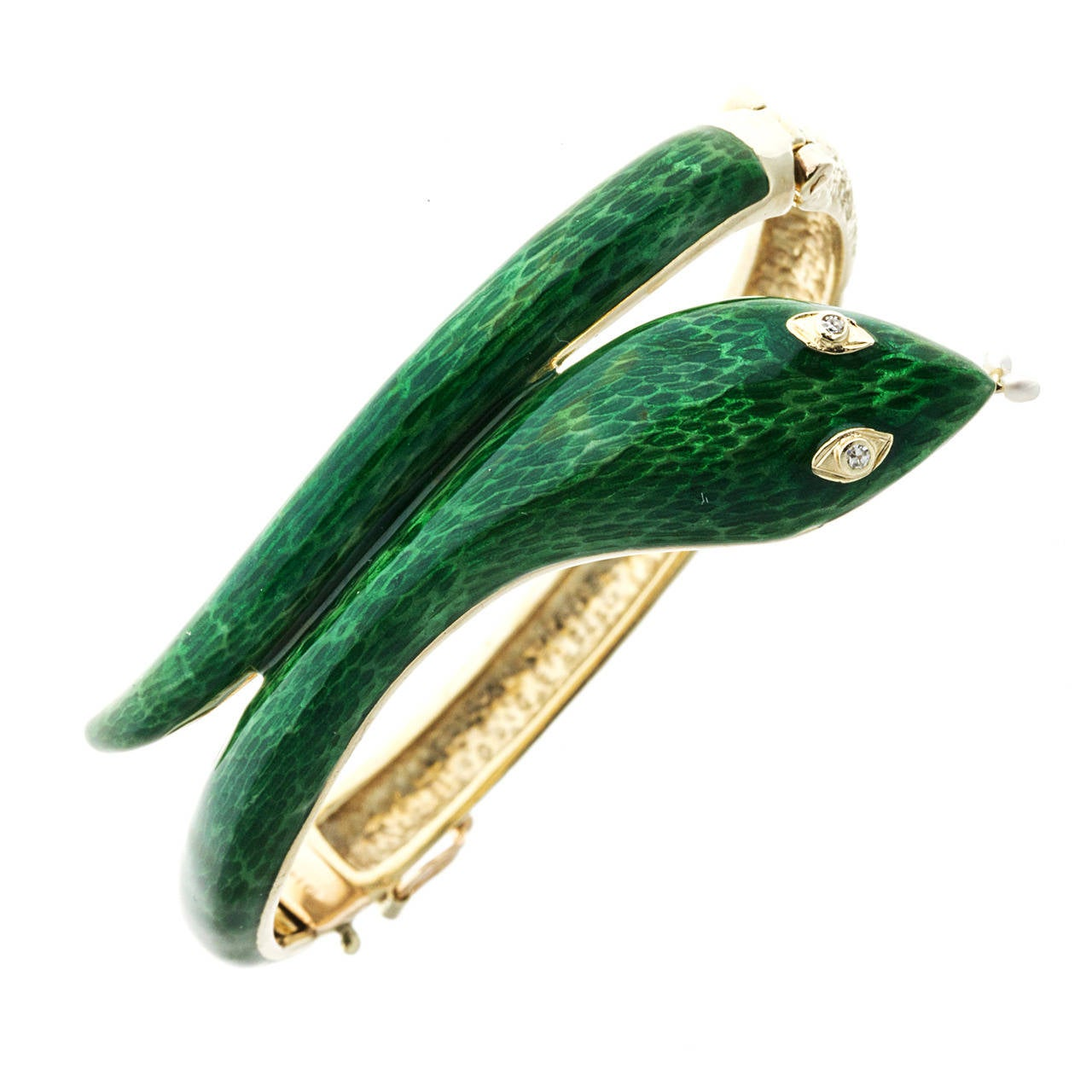 Pearl Diamond Enamel Gold Snake Bangle Bracelet