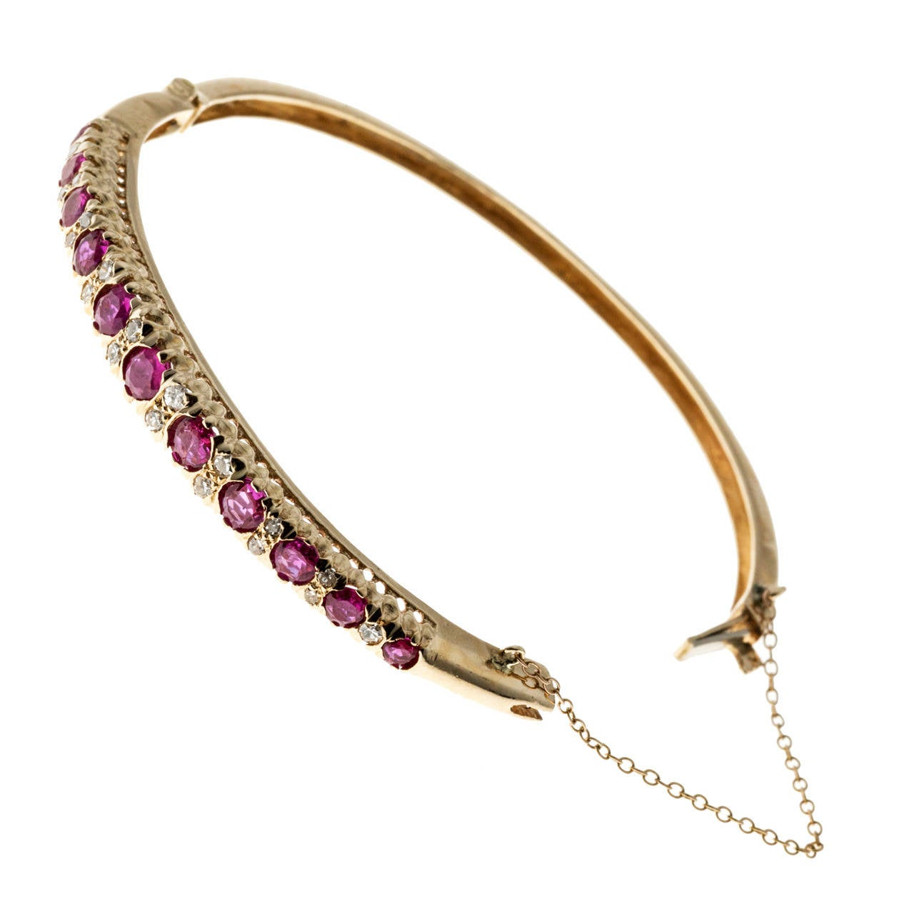 Natural Ruby Diamond Yellow Gold  Bangle Bracelet
