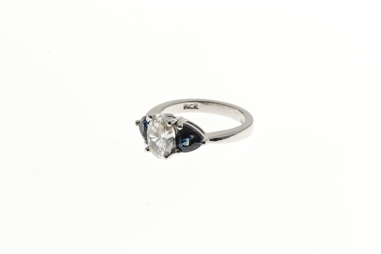 Oval Diamond and Trillion Cut Ceylon Sapphire Platinum Ring 2