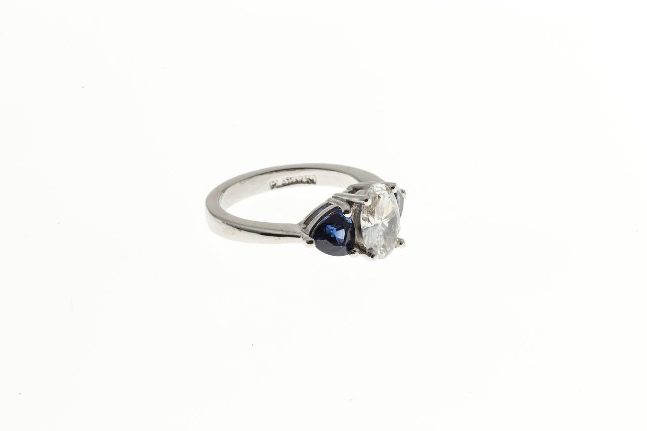 Oval Diamond and Trillion Cut Ceylon Sapphire Platinum Ring 3