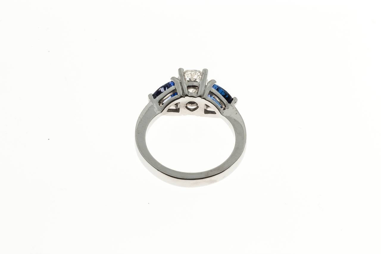 Oval Diamond and Trillion Cut Ceylon Sapphire Platinum Ring 4
