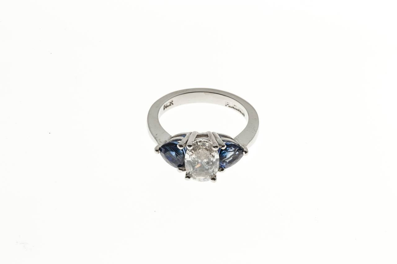 Oval Diamond and Trillion Cut Ceylon Sapphire Platinum Ring 5