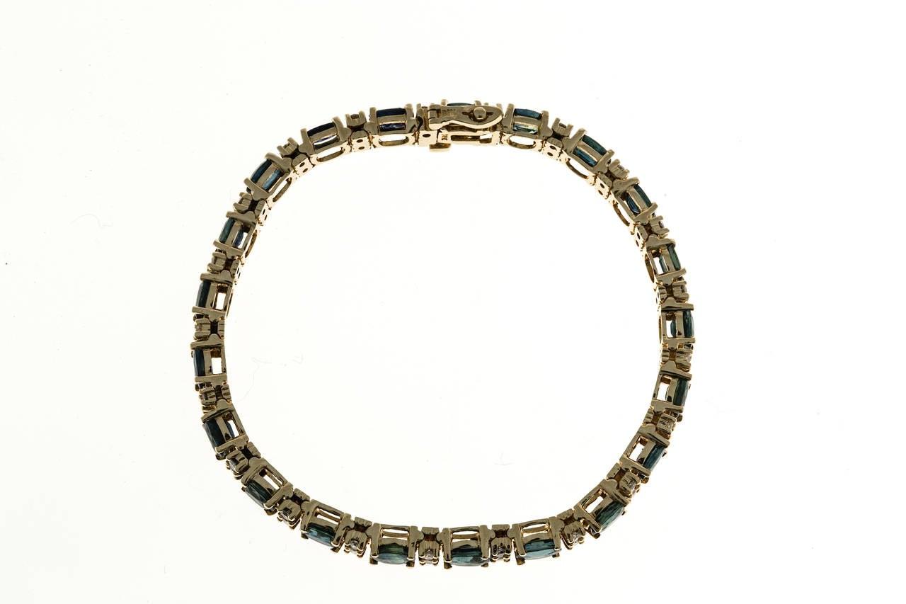 Oval Royal Sapphire Diamond Gold Hinged Link Bracelet 3