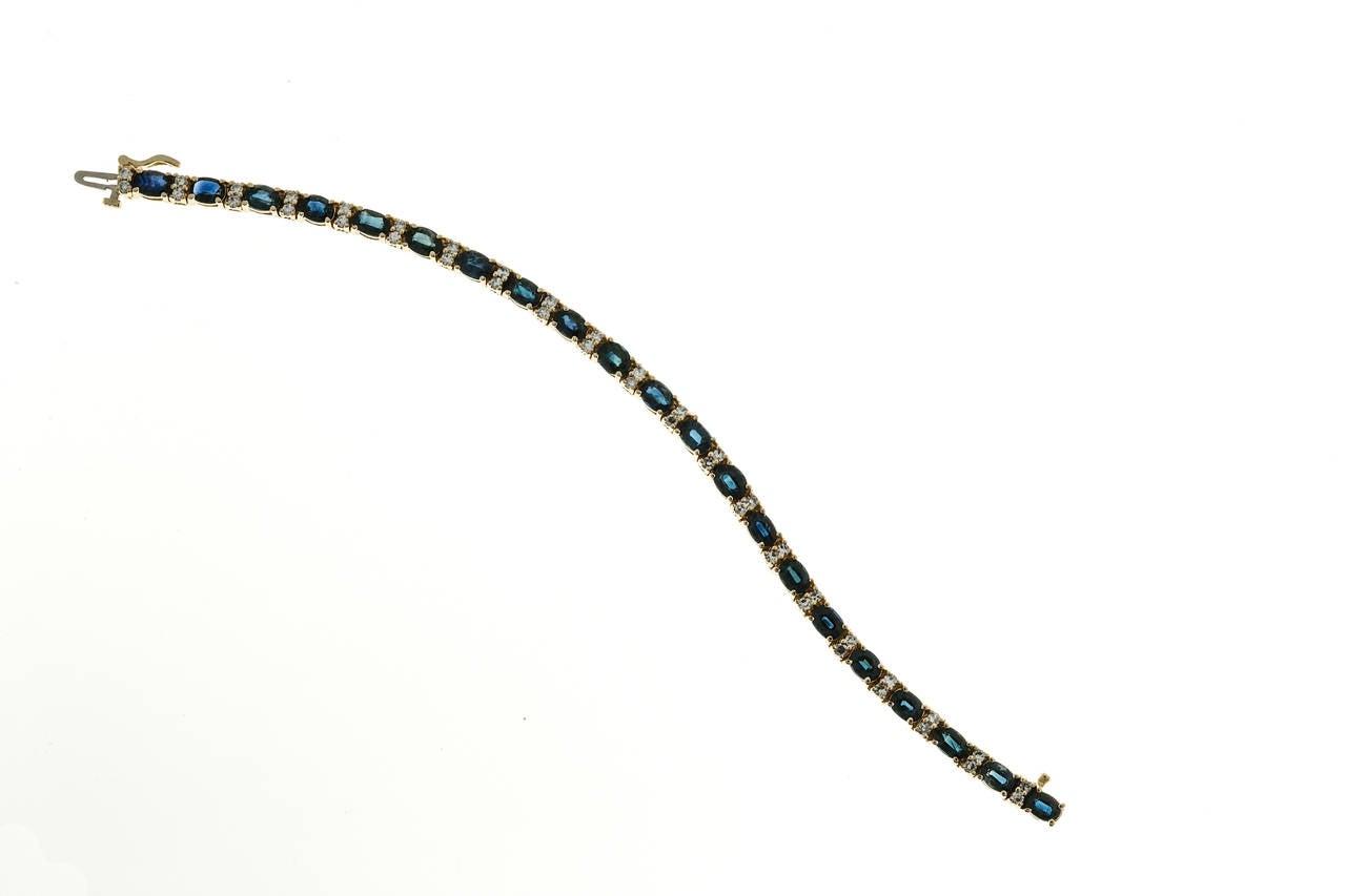 Oval Royal Sapphire Diamond Gold Hinged Link Bracelet 4