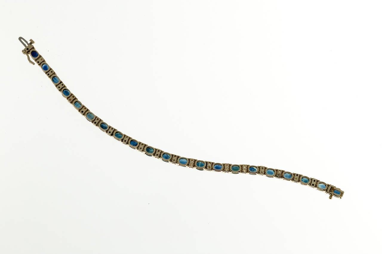 Oval Royal Sapphire Diamond Gold Hinged Link Bracelet 5