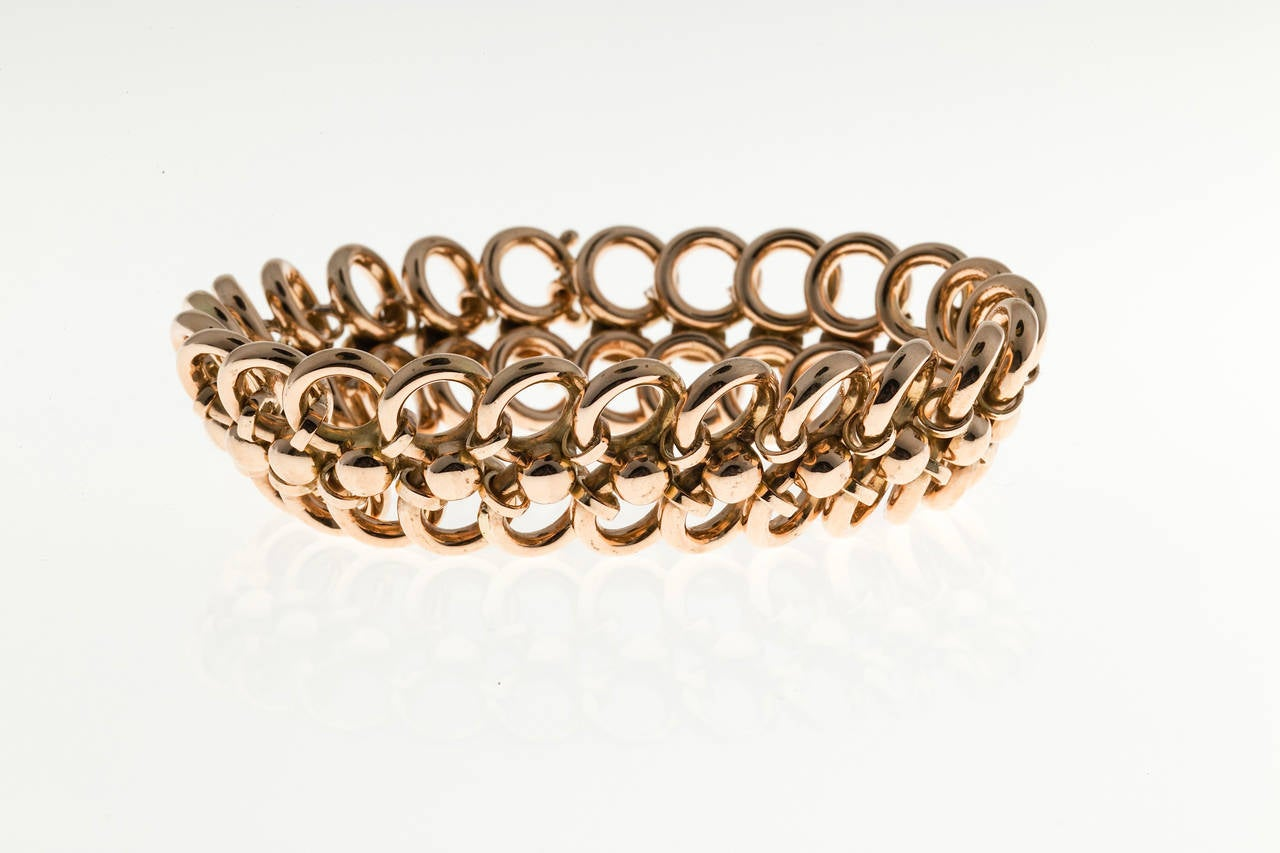 Art Deco Rose Gold Two Row Wide Circle Bracelet For Sale