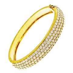 1960s Diamond Gold Bangle Bracelet