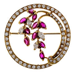 Italian Ruby Diamond Gold Flower Design Round Pin