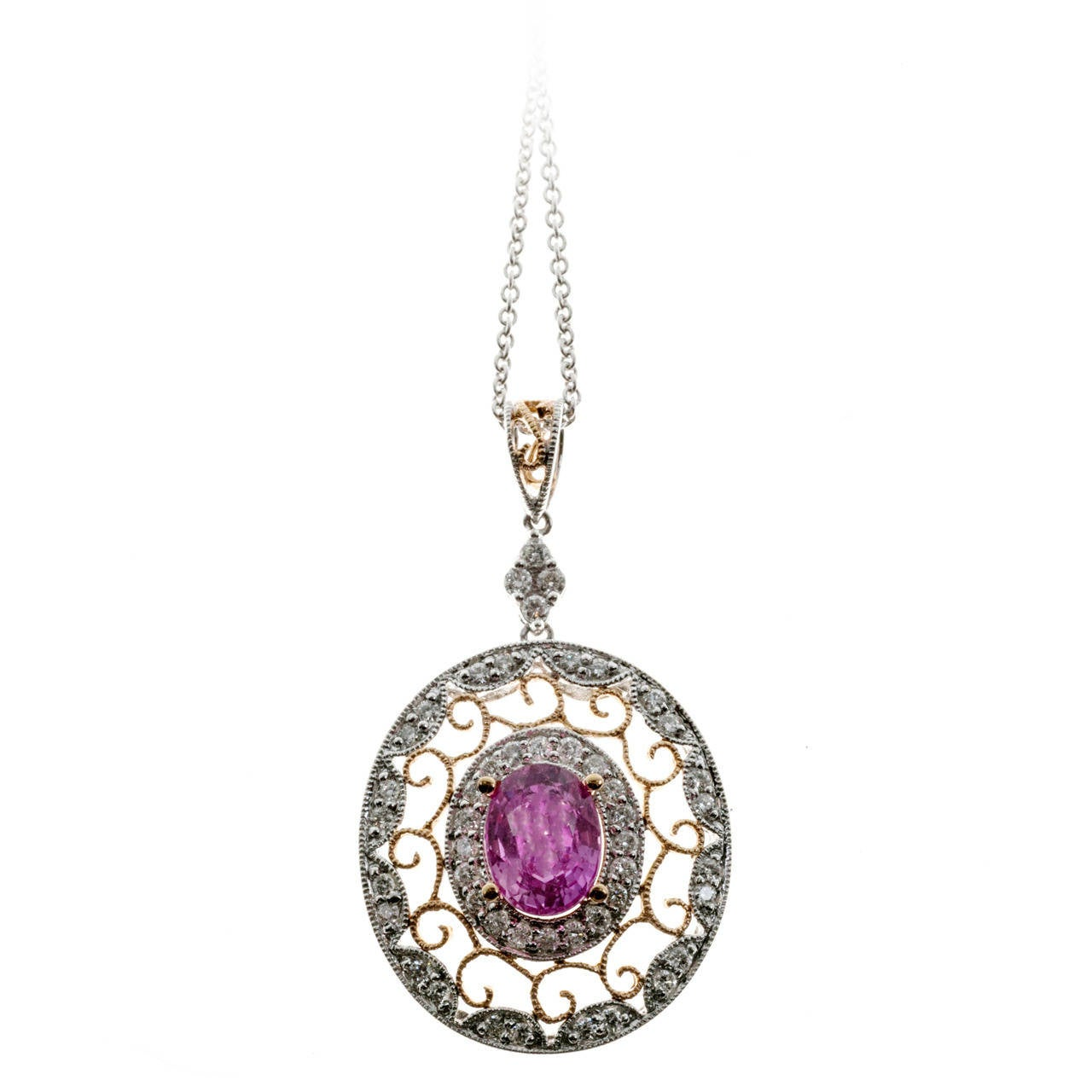 Pink Sapphire Diamond Gold Chain Pendant