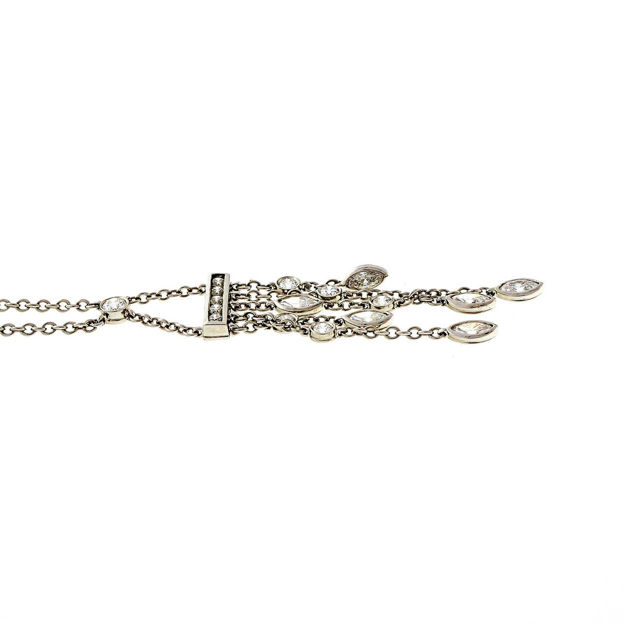 Women's Tiffany & Co. .99 Carat Diamond Platinum Swing Drop Pendant Necklace For Sale