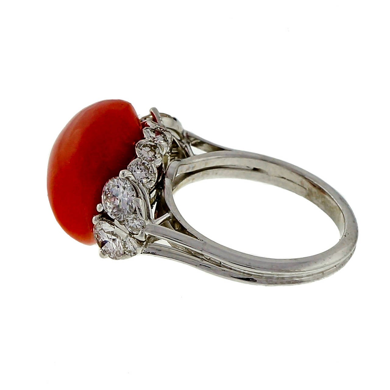Natural Coral Diamond Platinum Ring 2
