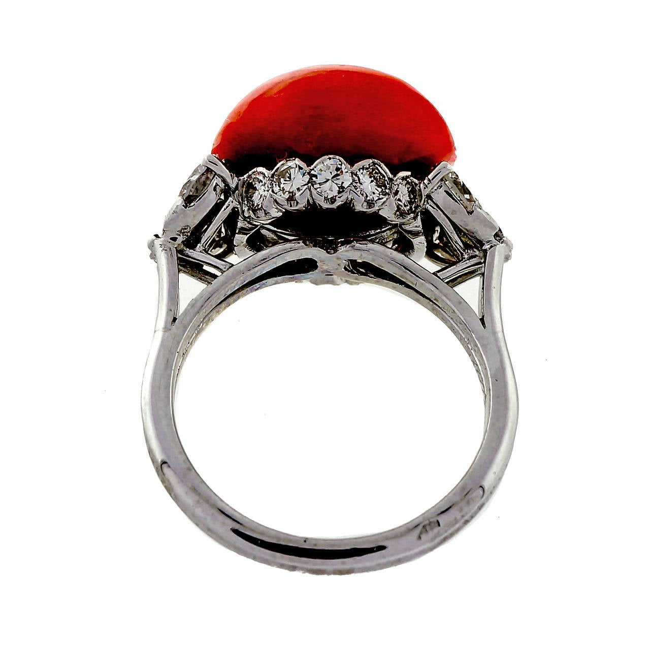 Natural Coral Diamond Platinum Ring 3