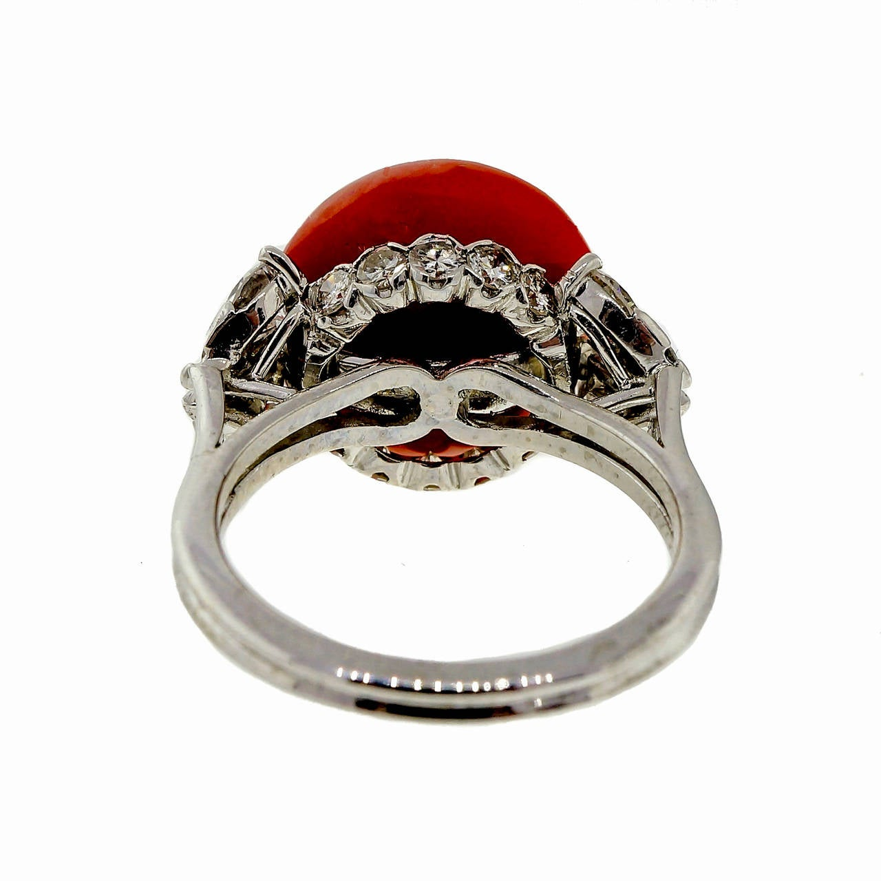 Natural Coral Diamond Platinum Ring 4