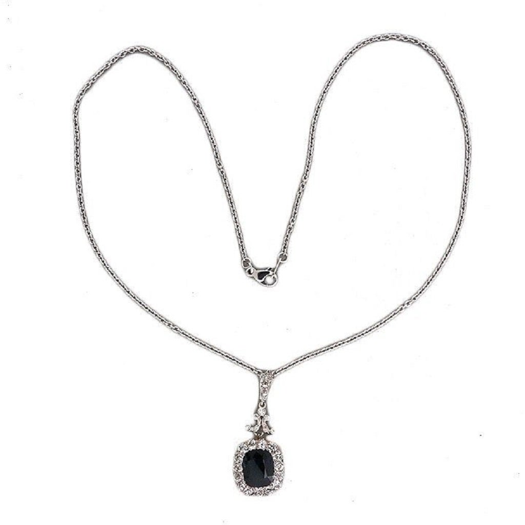 Victorian Natural No Heat Cushion Sapphire Diamond Platinum Necklace 2