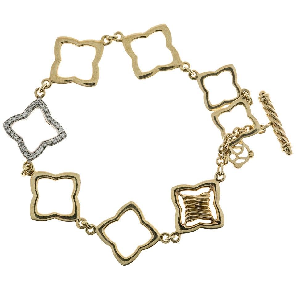 David Yurman .32 Carat Diamond Gold Link Bracelet