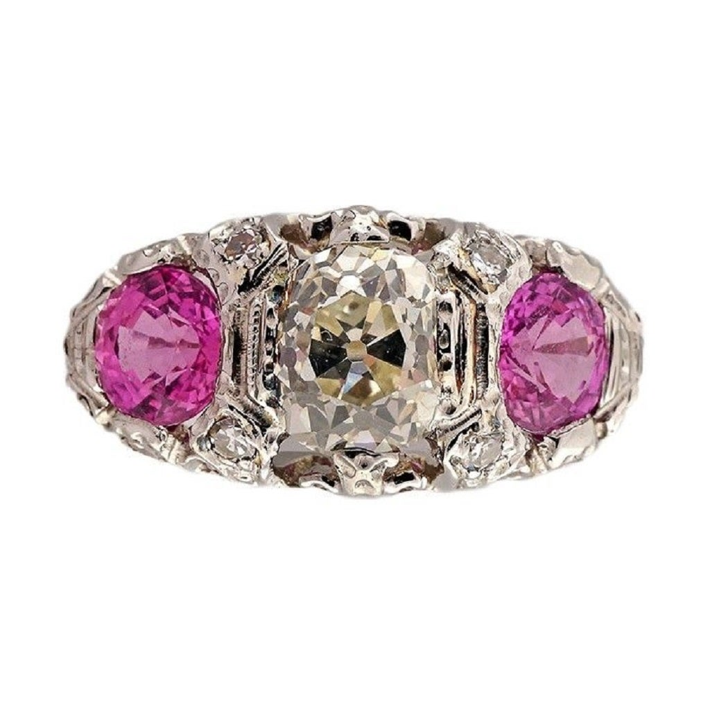 1920s pink sapphire platinum ring at 1stdibs