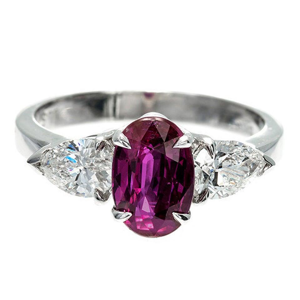 Peter Suchy Natural Purplish Red Ruby Diamond Platinum