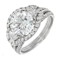 3.00 Carat Diamond Ideal Brilliant Cut Halo Three-Stone Platinum Engagement Ring