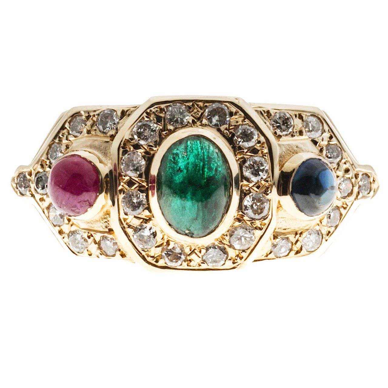 byzantine style cabochon emerald ruby sapphire
