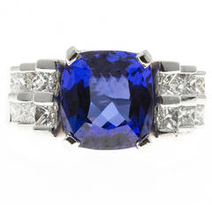 Cushion Blue Tanzanite Princess Diamond Platinum Ring
