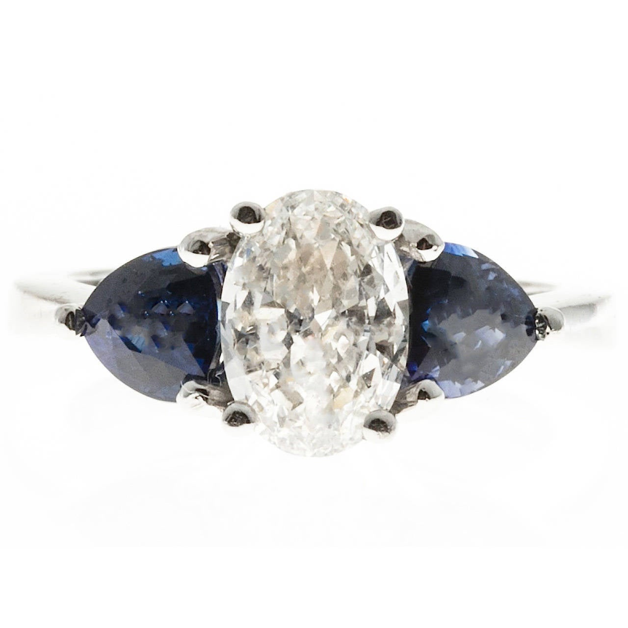 Oval Diamond and Trillion Cut Ceylon Sapphire Platinum Ring 1