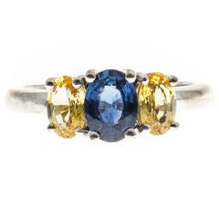 Peter Suchy Blue Oval Yellow Sapphire Gold Ring