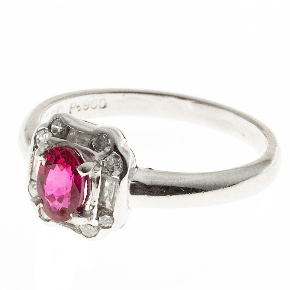 Art Deco Bright Red Oval Ruby and Diamond Platinum Ring